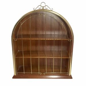 Midcentury teak arched wallmounted display cabinet